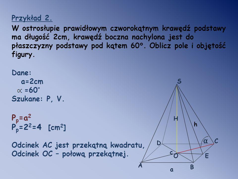 Pp=a2 Pp=22=4 [cm2] α Przykład 2.